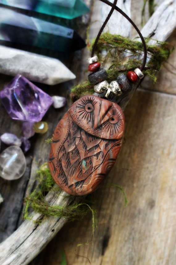 Handcrafted Owl Spirit Animal Necklace. Handcrafted Clay with Gemstone Beads... Clay with Healing Gemstone and Crystal Jewelry.