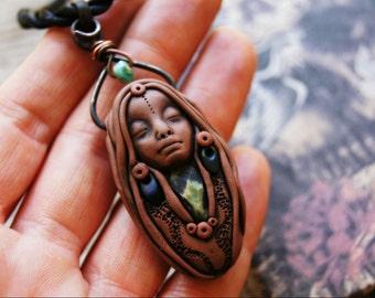 Wild Spirit Necklace, Wild Woman, Birth, Death and Rebirth Tiny Goddess Necklace.
