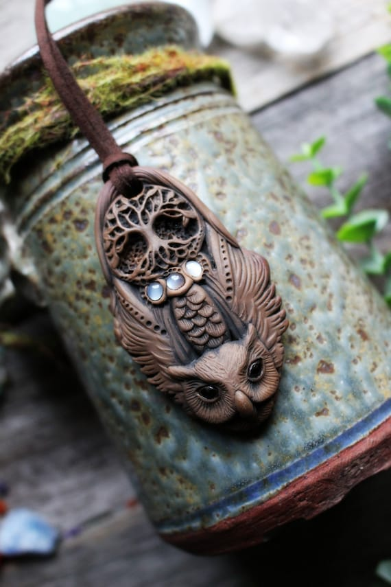 Tree Of Life + Owl Necklace with Moonstone. Handcrafted Clay & Gemstone Pendant.