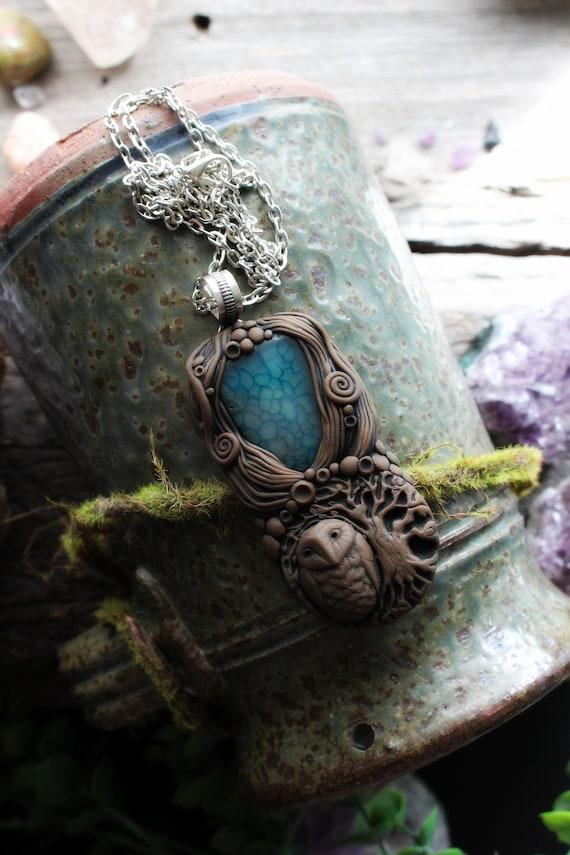 Owl Spirit Animal with Agate Gemstone Necklace. Shamanic Animal Totem Necklace