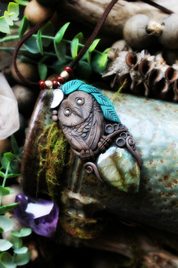 Owl Spirit Animal Necklace with Labradorite Gemstone. Handcrafted Clay. Goddess Necklace.
