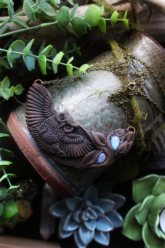 Owl Spirit Necklace with Moonstone Gemstones. Healing Crystal Necklace Pendant.