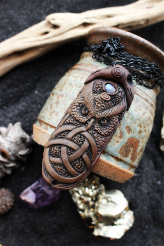 Owl Spirit Necklace with Moonstone Gemstone. Healing Crystal Necklace Pendant. Celtic Knot.