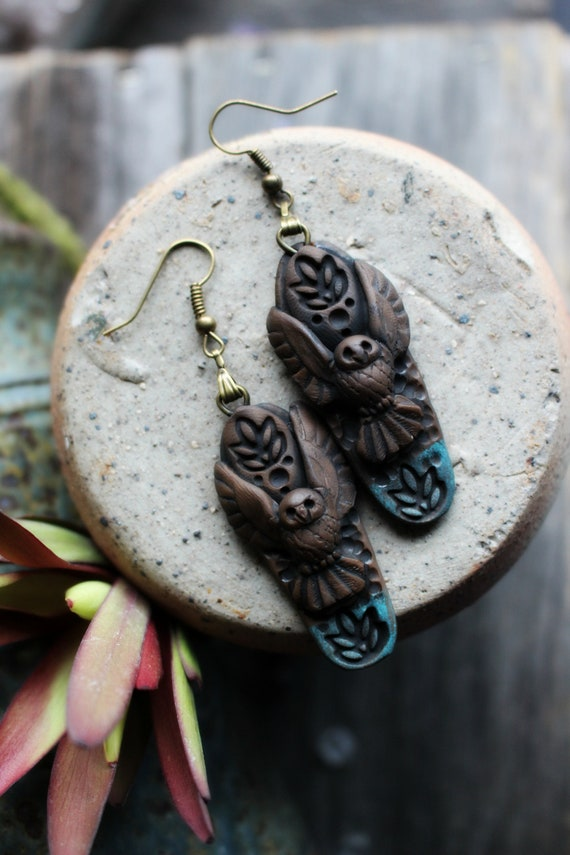 Owl Clay Earrings. Shamanic Style. Light Weight Clay Dangle Earrings. Handcrafted and One of a Kind.