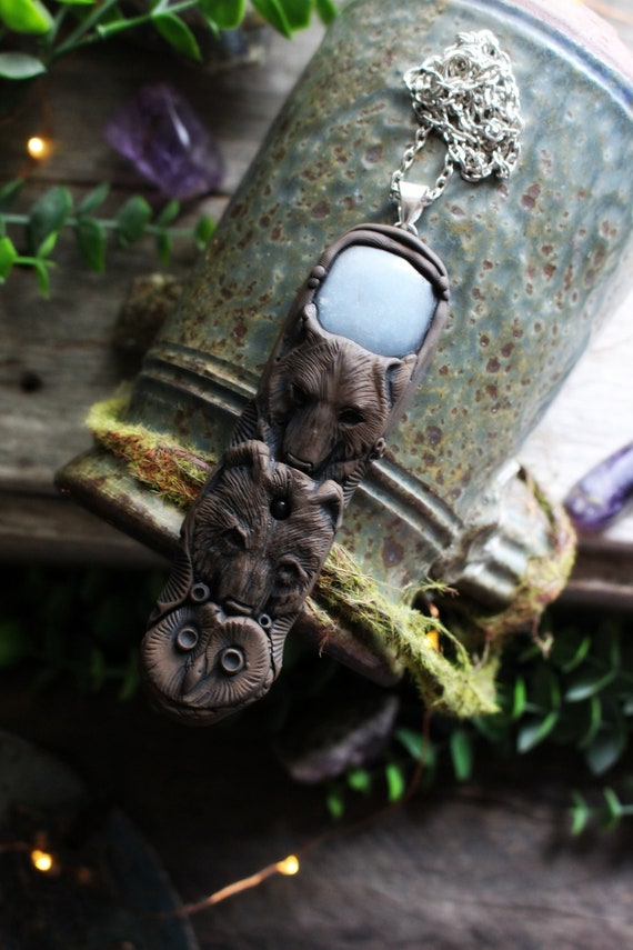 Owl, Wolf and Bear Spirit Animal Necklace with Angelite  - Handcrafted in Clay - Totem Pole Necklace