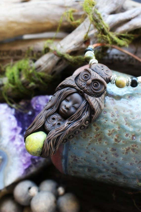 Owl Spirit Animal with Atlantisite Necklace - Handcrafted in Clay  . Handmade Clay Jewelry . Goddess . Crystal and Gemstone Jewelry