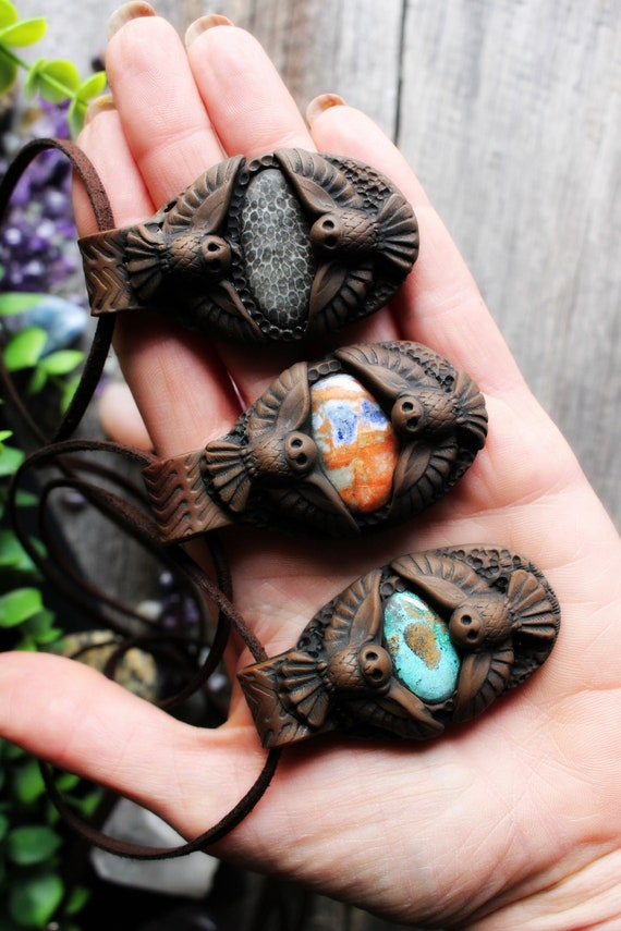Owl Medicine Necklace. Shamanic Spirit Animal Totem Necklace.