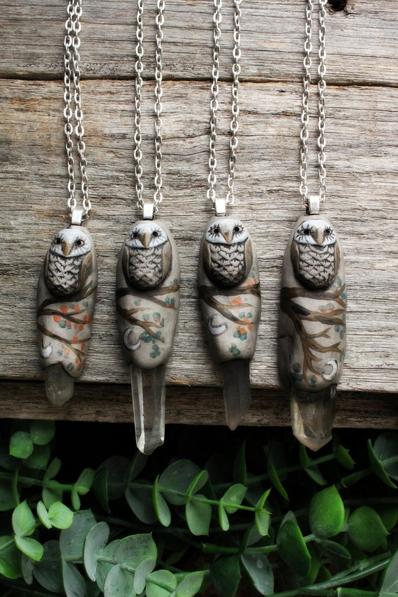Owl Spirit Animal Necklace with Quartz Point. Handcrafted Clay.