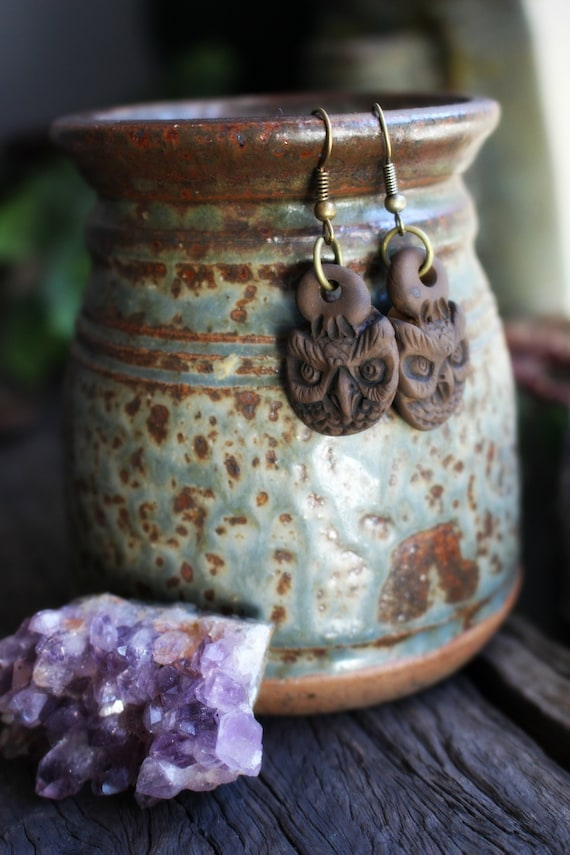 Owl Spirit Earrings. Light Weight Clay. Handcrafted and One of a Kind.