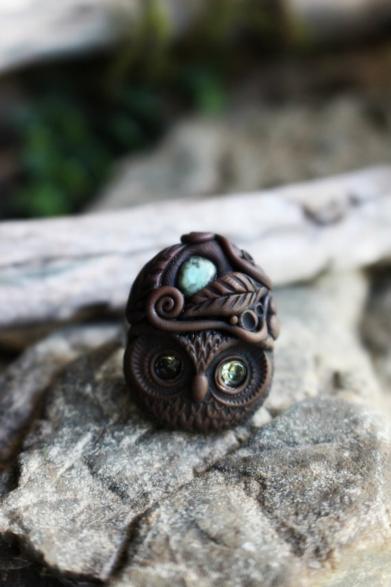 Owl Spirit Ring with Turquoise Gemstone -  Fully Adjustable . Goddess Ring . Crystal and Gemstone Jewelry