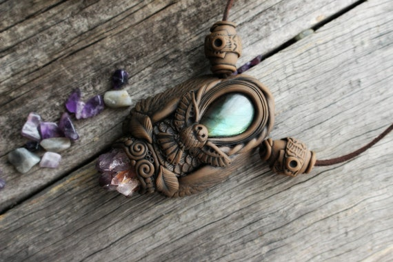 The Protector Necklace - Owl Spirit Animal with Labradorite and Amethyst Necklace.  Animal Totem Necklace. Clay & Crystal.