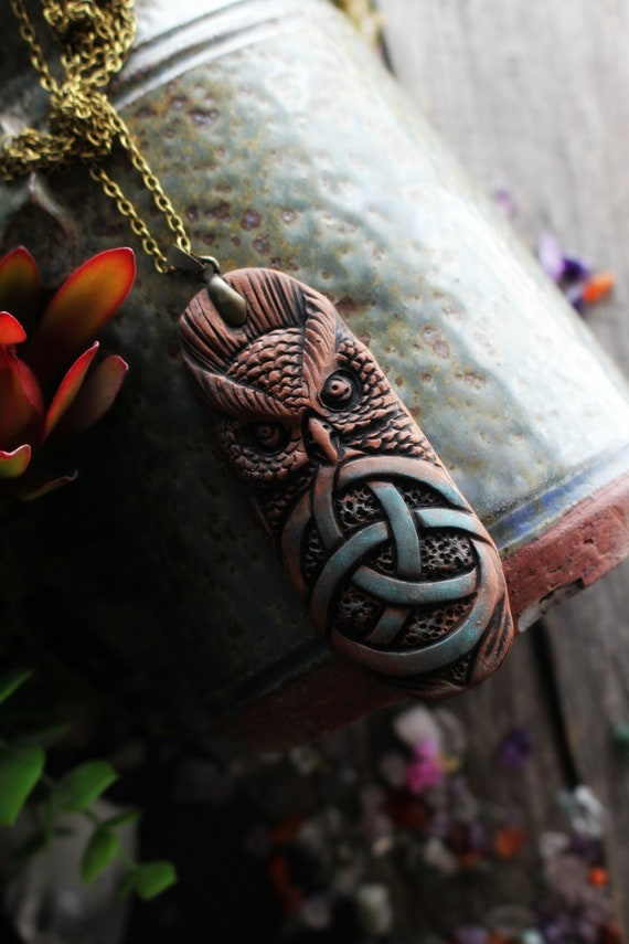 Owl Spirit Necklace. Handcrafted Clay. Celtic Knot.