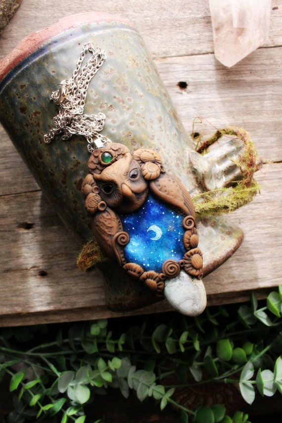 Galaxy Owl Spirit Animal Necklace with Variscite and Green Chalcedony Gemstone. Handcrafted Clay. Goddess Necklace.