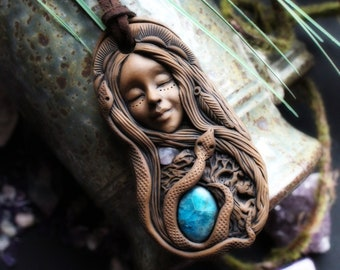 Snake Goddess Necklace with Moonstone and Blue Apatite Gemstone. Handcrafted Clay & Gemstone Pendant.