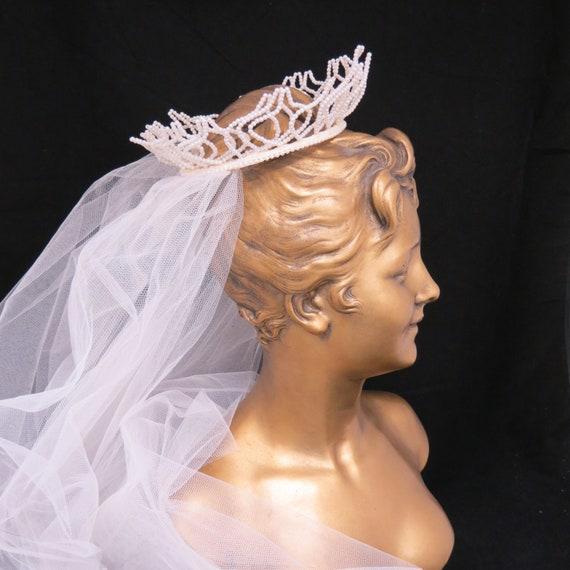 Vintage 1950s Fingertip Ivory Wedding Veil, Free … - image 2