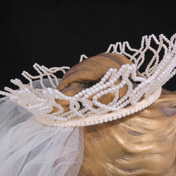 Vintage 1950s Fingertip Ivory Wedding Veil, Free … - image 3