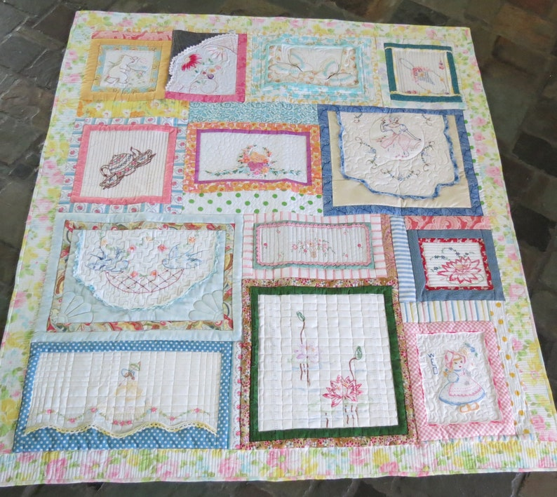 Embroidery Patchwork Quilt 5TTT19 Vintage Embroidery Quilt Free Shipping