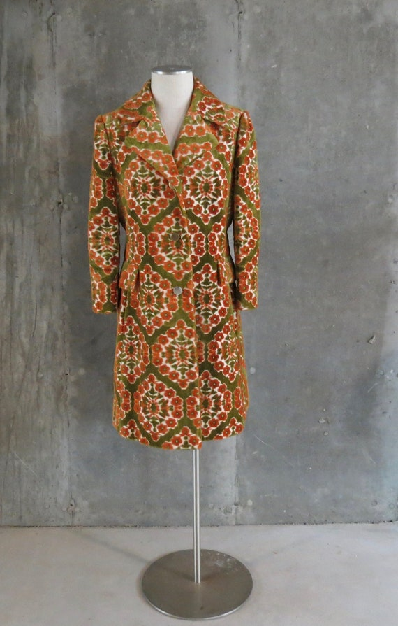 Vintage Lilli Ann Tapestry Coat, Orange Green Tape