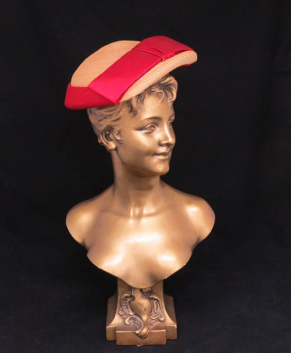 Vintage Alice May Calot Hat, Red Bow Hat, Free shi