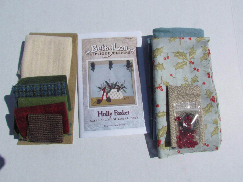 MOTIF et KIT applique laine «Holly Basket» «Tenture murale murale murale motif/kit bed3c6