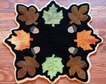 PATTERN - Fallen Leaves - Wool Applique'  Candle Mat
