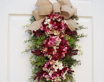 Hydrangea Wreath Swag~Strawberry Shortcake~Door Swag~Winter, Spring,Summer, Fall~Floral Swag~Holiday Decorating~Timeless Floral Creations