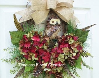 """Fall Wreath for Front Door Decorating~Owl, Pheasant Feathers~Hydrangea """"Indian Jewels""""""""~Holiday Decorating~Timeless Floral Creations"""
