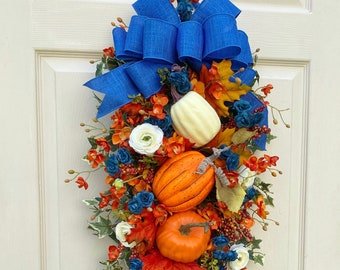 Orange and Royal Blue Door Swag~ Autumn Home Decoration ~Fall Door Decor~ Wreath Alternative~ Timeless Floral Boutique
