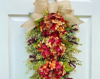 Fall Hydrangea Wreath Swag w/ribbon tails ~Autumn Festival~ door decorating~floral~Summer, Winter, Spring, Fall~ Timeless Floral Creations