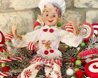 """Elf~Peppermint w/ Chef's jacket #2,  White & Red~Raz~16""""~Christmas ~Add to wreath, swag, arrangement, Christmas tree~Timeless Floral Boutiq"""