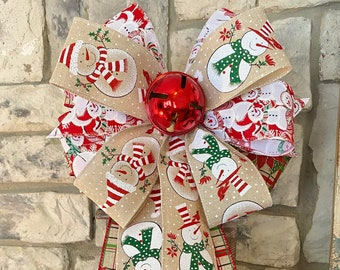 Snowman, Jingle Bell, Plaid Ribbon, Christmas, 3 Ribbon Bow, Wired Edge ,Wreath Bow, for Swag, Garland, Lantern~Timeless Floral Boutique