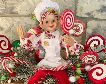 """Peppermint with apron #1,  White & Red~Raz~16"""" tall ~Christmas ~Add to wreath, swag, arrangement, Christmas tree~Timeless Floral Boutiq"""