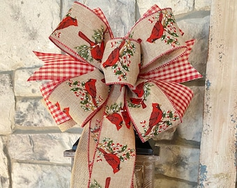 Cardinal, Country Check & Burlap, 3 Ribbon Bow, Wired Edge Ribbon, Wreath Bow, for Swag, Garland, Lantern~Timeless Floral Creations
