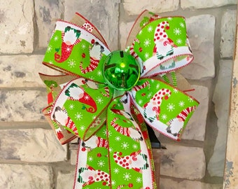 Elf Ribbon Bow, Jingle Bell, Check Ribbon, Christmas, 3 Ribbon Bow, Wired Edge for Swag, Garland, Lantern~Timeless Floral Boutique
