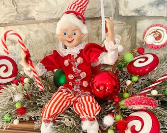 """Elf, Candy theme w/ Peppermint~ #2,  White & Red~Raz~16""""~Christmas ~Add to wreath, swag, arrangement, Christmas tree~Timeless Floral Boutiq"""