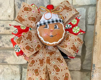 Gingerbread Face Bow,  3 Ribbon Bow, Wired Edge Ribbon, Wreath Bow, for Swag, Gingies,  Garland, Lantern~Timeless Floral Creations