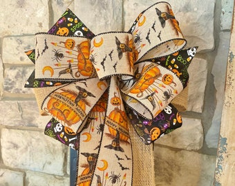 Halloween Primitive Look Bow, Wreath Attachment, 3 Ribbon Bow, Wired Ribbon, Wreath, for Swag, Garland, Lantern~Timeless Floral Creations