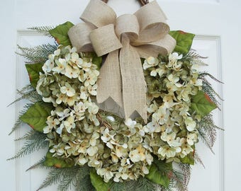 Hydrangea Wreath~Natural Elegance~Winter, Spring,Summer,Fall Door Decorating~Front Door~Timeless Floral Creations