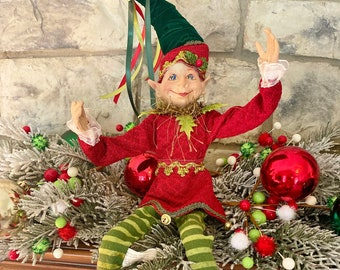 """Nature Inspired Elf #2, Green & Red~Raz~16"""" tall ~Christmas ~Add to wreath, swag, arrangement, Christmas tree~Timeless Floral Boutiq"""