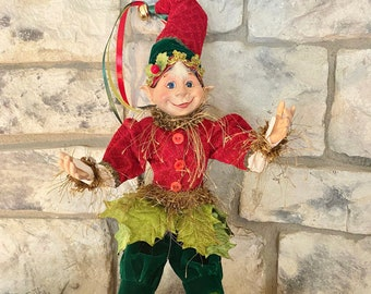 """Nature Inspired Elf #1, Green & Red~Raz~16"""" tall ~Christmas ~Add to wreath, swag, arrangement, Christmas tree~Timeless Floral Boutiq"""