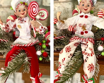 Set of 2 Christmas  Peppermint Elves~Add to wreath, swag, arrangement or tuck into a Christmas tree ~Timeless Floral Boutique