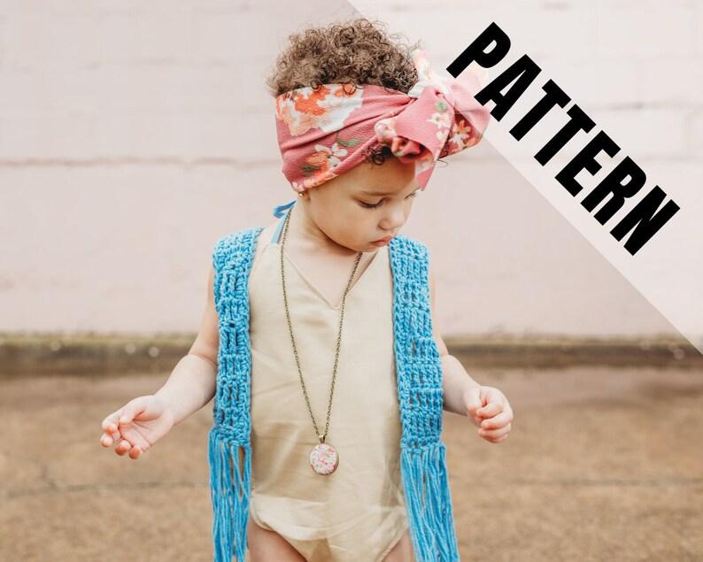 NESO Boho Fringe Vest Crochet Pattern  Baby Toddler Child image 0