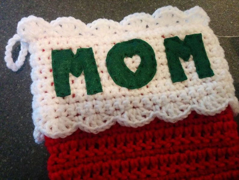 NAME Personalized Christmas Stocking Hand Crochet  Hadley image 0