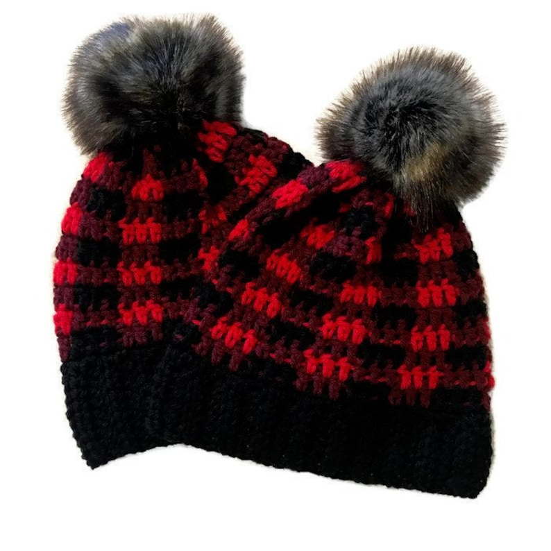 Mommy and me set  Plaid Lux Faux Fur Pompom Beanie  image 0