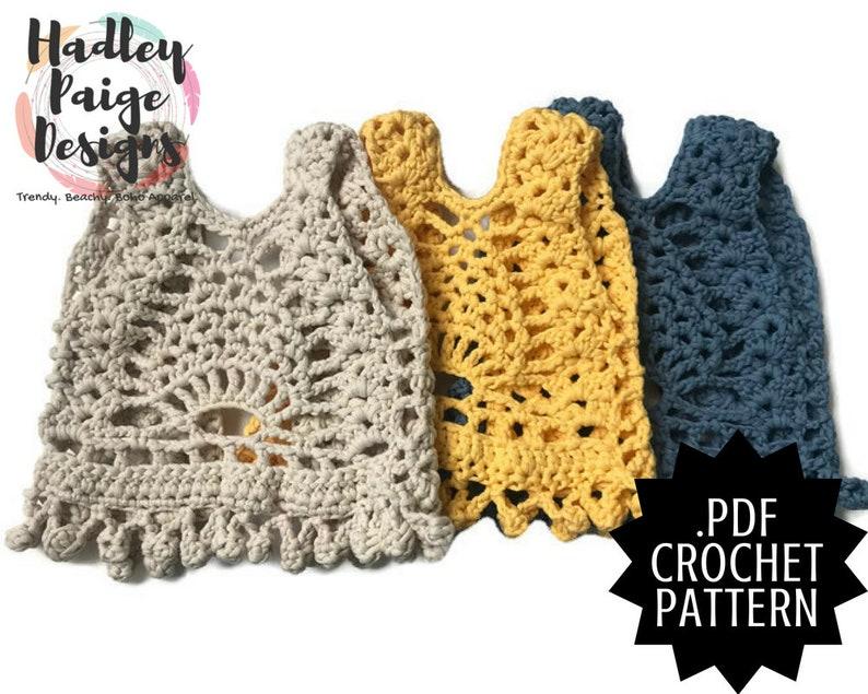 AMBROSIA Pineapple Vest // Boho Crochet PATTERN // by Hadley image 0