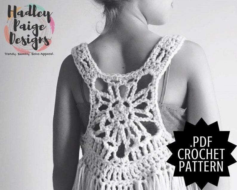 Neso Child Size Boho Fringe Vest Crochet Pattern By Hadley Etsy