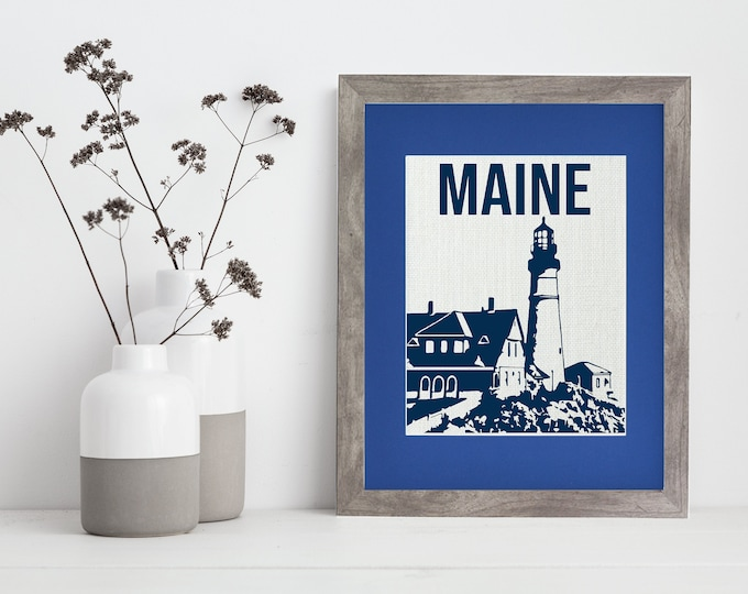 Featured listing image: Maine Lighthouse   Fort Williams l Framed or Unframed   Wall Art   Maps   Nautical   Burlap   Personalized Gift   Burlap Print   Handmade
