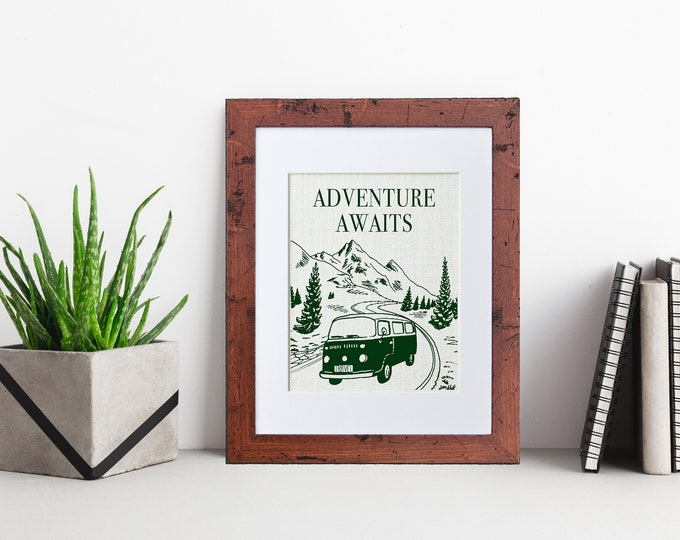 Featured listing image: Adventure Awaits   Framed or Unframed   Burlap Art   Wall Art   Quote   Travel   Inspirational   Burlap   Personal Gift   Burlap Print