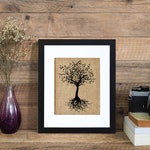 Tree of Life | Framed or Unframed | Burlap Art | Wall Art | Maps | Travel | Nature | Burlap | Personalized Gift | Burlap Print | Handmade