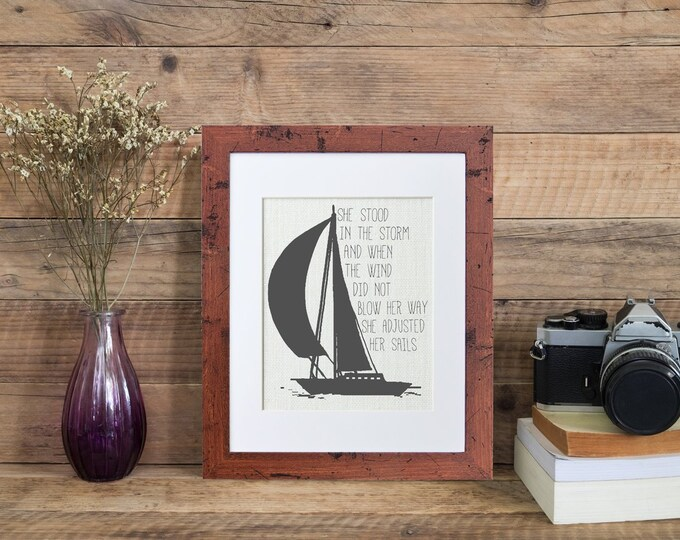Featured listing image: In the Storm  Framed or Unframed   Burlap Art   Wall Art   Quote   Sailing   Nautical   Burlap   Personalized Gift   Burlap Print   Handmade